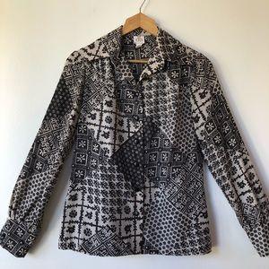 Vintage 70's Patchwork Button Up Blouse Batik